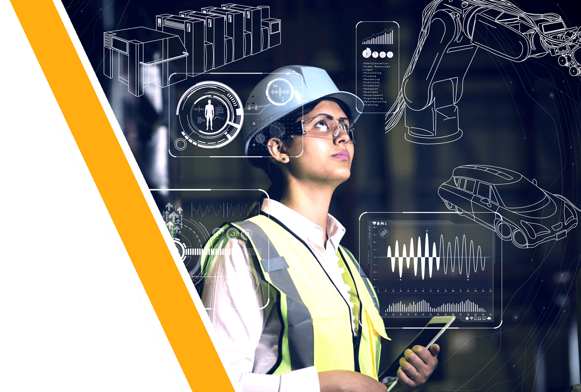 Woman in hard hat surrounded by technical drawings
